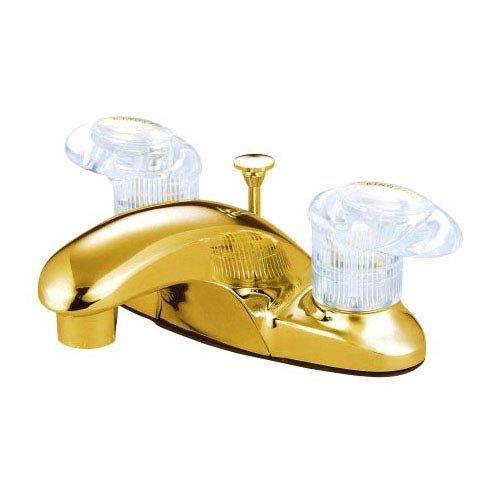 Daytona Centerset Bathroom Faucet with Double Push Tilt Handles Finish: Polished Brass, Drain: Plastic Pop Up Drain ()