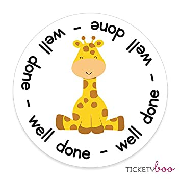 35 x 37mm personalised giraffe well done school well done stickers labels