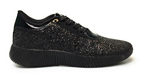 Sneakers Retrò Glitter Da Donna Oxford Lace Up Platform Wedge Creeper (6.5, Black-yes19)