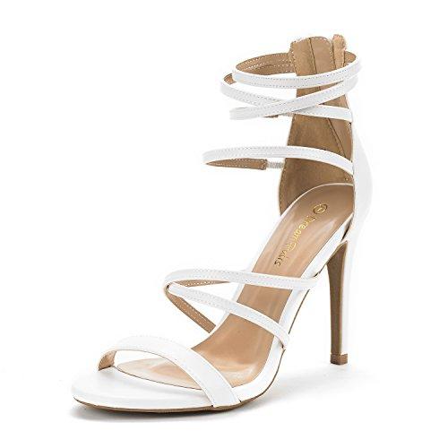 - DREAM PAIRS Women's Show White Pu High Heel Dress Pump Sandals - 5 M US