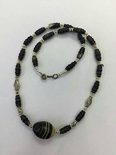 Afghan Silver Plated Beads with Agate Necklace 23.5 inches Ethnic Regional Tribal Vintage Gypsy Hippie Gemstone Handmade Jewelry
