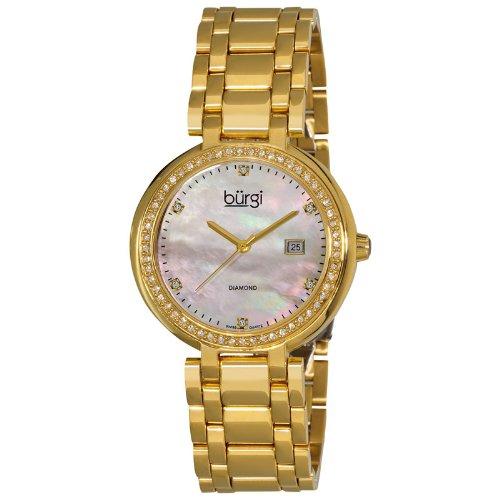 Burgi Gold-tone Quartz Diamond Bracelet Ladies Watch BUR055YG