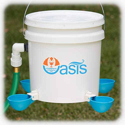Oasis Chicken Waterer Kit (Bucket NOT Included) | Complete with Oasis Watering Cups, Bucket Float Valve and Drill Bits | 4 Cup Kit (Blue)