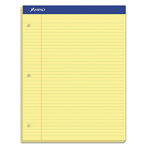 Ampad Evidence Pad, Dual College Ruled, Size 8.5 x 11.75 Inches, Canary Paper, 100 Sheets Per Pad (20-223) 3 Hole Dual Pad