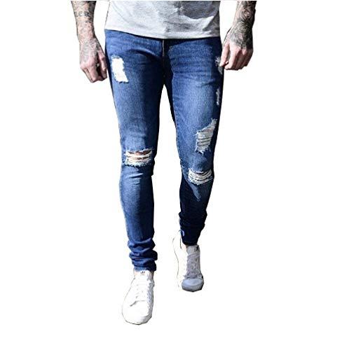 Lanceyy Stretch Sportivi Jeans Da Stile Con Larghi Uomo Di Dunkelblau Ragazzi Lunghi Casuali Semplice Buchi Pantaloni Distrutti rzfrnq