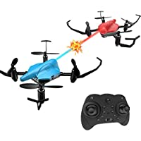 Holyton Mini RC Battle Drones with Infrared Fighting Function, Altitude Hold Mode, Headless Mode and 3D Flips, RTF Quadcopter Easy Fly for Kids and Beginners, Color Blue and Red, Pack of 2