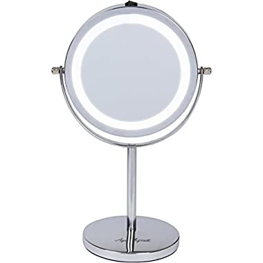 Aqua Elegante 6 Inch LED Makeup Mirror - Double-Sided, Lighted 10x/1x Magnification - Chrome