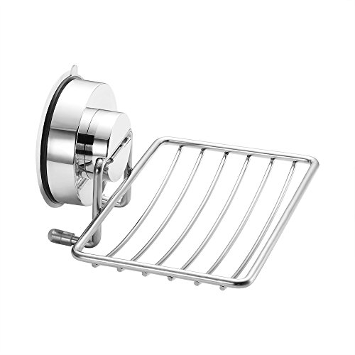 ALLOMN Super Powerful Vacuum Suction Cup Soap Dish Stainless Steel Rustproof Sponge Holder for Bathroom Kitchen, Chrome