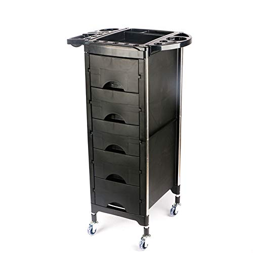 Beauty Storage Trolley Hairdresser Maintenance Carts Hairdressing Multi-Layer Drawer Tool Car Hair Salon Multi-Function Perm Hair Dyeing Equipment Cart Black by Beauty Storage Trolley (Image #2)