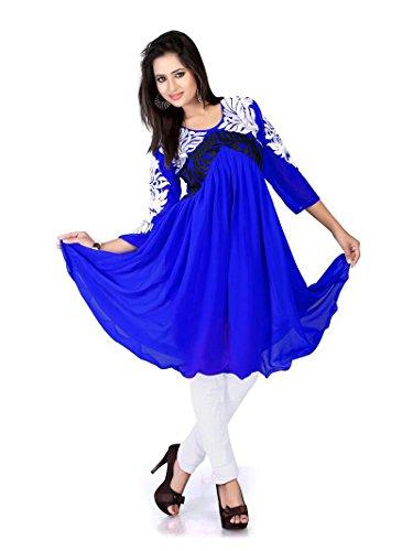 JayayamalaLadies thread Embellished Blue Georgette Tunika / Top Abend / Party / Hochzeit / Festive Wear