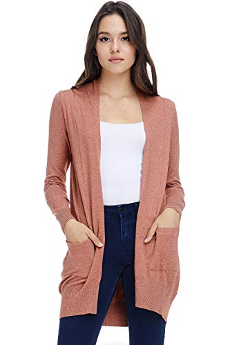 Button Cardigan Long Three (AD Womens Basic Open Front Knit Cardigan Sweater Top W/Pockets (H. Coral, Small/Medium))