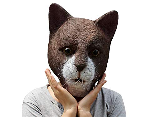 Hezon Happy Festival Creative Latex Cat Head Mask Halloween Ghost Party Tricky Mask Head Cover (Coffee)