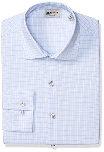 Kenneth Cole REACTION Men's Dress Shirt Technicole Slim Fit Check, Blue Horizon, 17