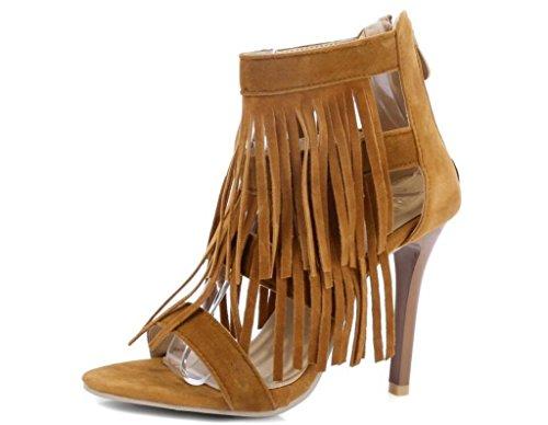 De Partido 41 Cremallera Borla compras sandalias Las Talones 40 Trasero Mujeres Xie Verano Del 32 Yellow 10cm 33 cierre La Yellow 5w1an7
