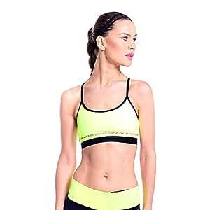Drop Of Mindfulness Yellow Sport Bra For Women