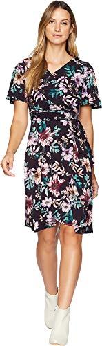 Donna Morgan Women's Floral Jersey Wrap Dress with Flutter Sleeve Dark Plum/Lilac Multi 8