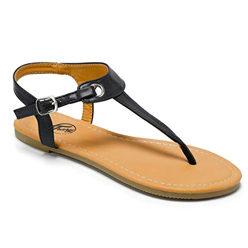 - Trary Flat T-Strap Thong Sandal for Women Black 105
