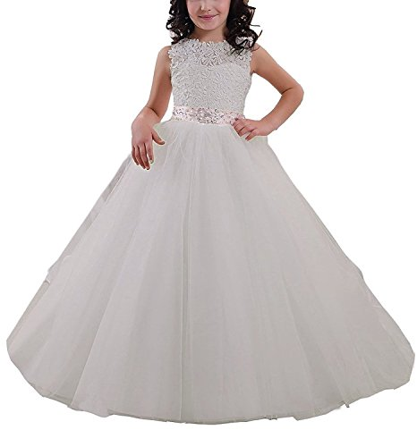 ivory a line chiffon and organza flower girl pageant dress - 6