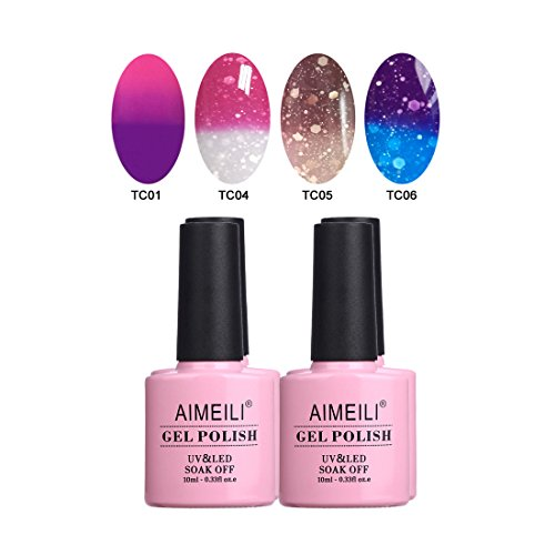 AIMEILI Temperature Color Changing Soak Off UV LED Chameleon Gel Nail Polish Set Of 4pcs X 10ml- Kit Set 8]()