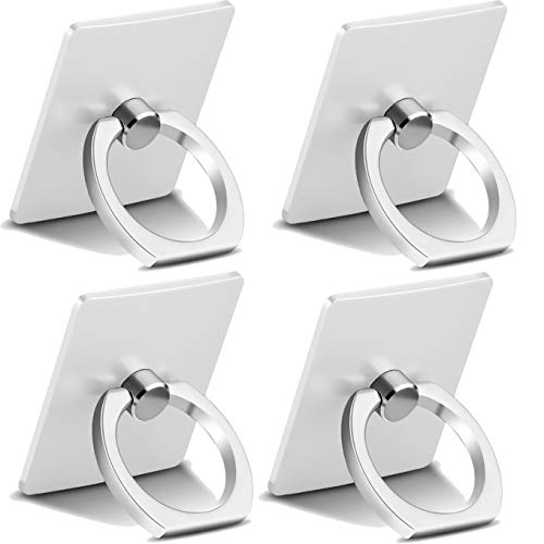 4-Pack Cell Phone Ring Holder,Finger Stand,360 Rotation Thin Universal Kickstand,Compatible with iPhone Xs Max XR X 8 7 6 6s Plus 5s,Galaxy S8 S7 S6,S10, Huawei P30 All Android Smartphone-Silver ()