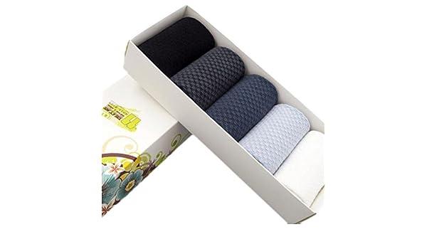 George Jimmy 5 Pairs Men Socks Bamboo Fiber Soft Anti-Sweat Antibacterial Grid Fall Winter Socks Decent Gift-A01
