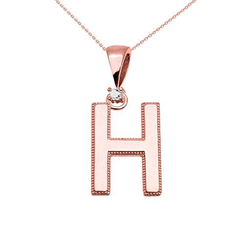 """Collier Femme Pendentif 10 Ct Or Rose Poli Élevé Milgrain Solitaire Diamant """"H"""" Initiale (Livré avec une 45cm Chaîne)"""