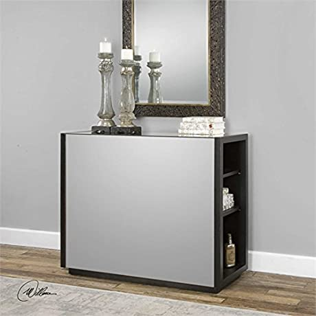 Ambient Lightly Antiqued Mirror Encased In Solid Poplar Wood Slabs Finished In Ebony Stain Mirrored Console Table