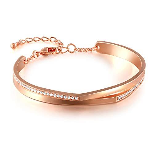 GEORGE · SMITH Rose Gold Bracelet for Women CZ Crystal Adjustable Bangle Jewelry for Her 7 - Bracelets Bangle Gold Wedding