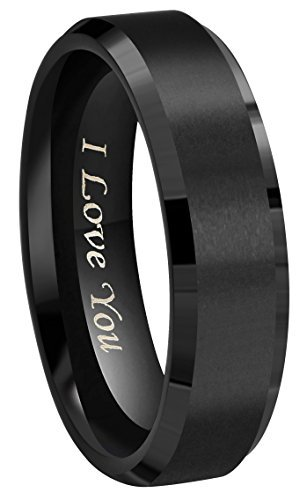 Crownal 8mm 6mm 4mm Black Tungsten Wedding Couple Bands Rings Men Women Matte Brushed Finish Center Engraved ''I Love You'' Size 4 To 17 (6mm,10)