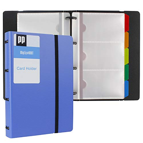 MyLifeUNIT Business Card Holder Book, Name Card Organizer Book with Five Color Index Tabs, 120 Cards (Blue)