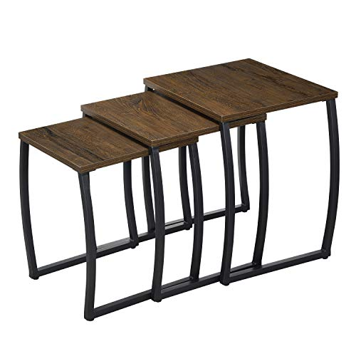 Nesting Tables, Vintage Side End Tables Living Room, Coffee Snack Table Set of 3