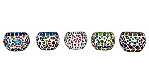 Lalhaveli Mosaic Glass Candle Holders Centerpiece Set of 5 Pcs 3 Inches