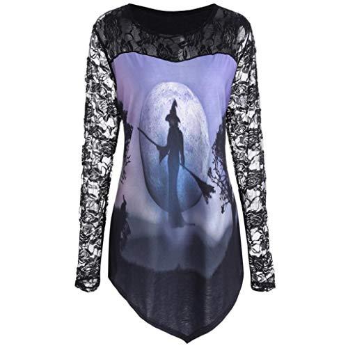 GREFER Women Halloween Costume O-Neck Printed Design T-shirt Blouse Lace Insert Shirt Tops -