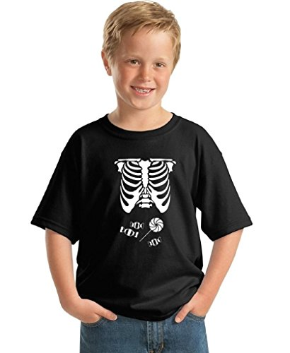 Youth Halloween Shirt Ribcage Skeleton T-shirt Candy Belly Costume for Kids M Black