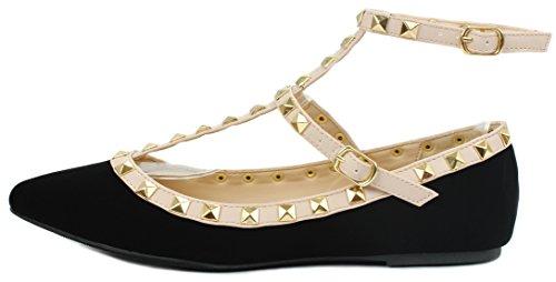 Diseñador Rivet Tachonado Con Punta / Ronda Del Dedo Del Pie Vestido Ballet Zapatos Planos Negro Nubuck Pu
