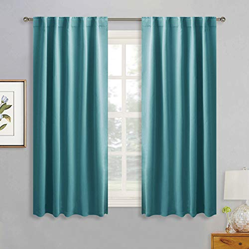 RYB HOME Black Out Curtains for Home Theatre Backdrop, Back Tab & Rod Pocket Header for Easy Install, Insutaled Summer Heat for Living Room/Dinning/Master Bedroom, 42 x 54, Teal, Set of 2