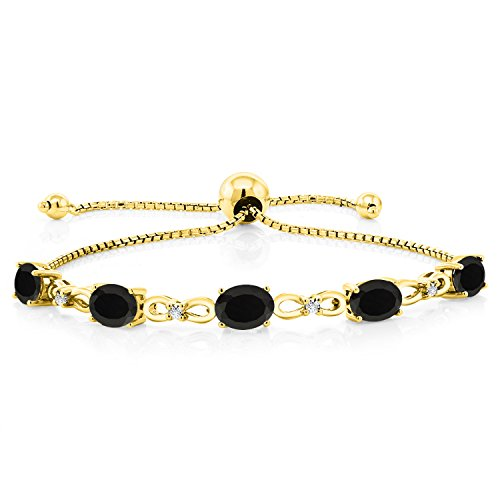 Gem Stone King 4.00 Ct Oval Black Onyx 18K Yellow Gold Plated Silver Diamond Bracelet