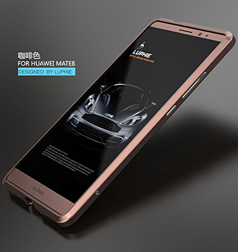 Huawei Ascend Mate 8 Case, Lwang 3D Curved Surface CNC Aviation Aluminum Alloy Metal Scratch-Resistant Built-in Sponge Drop Protection Bumper Frame Shell for Huawei Mate 8 Cases (bumper rose gold )