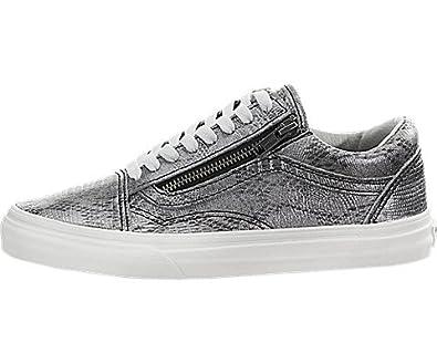 bcbca73ccc1918 Vans Old Skool Zip (Disco Python) Black Silver Fashion Shoes (11 B(M ...