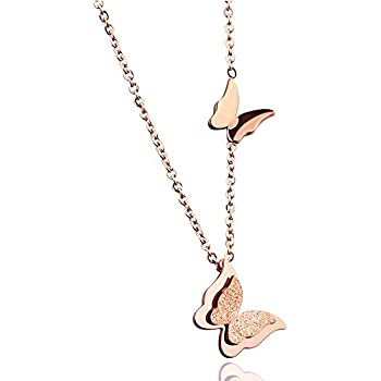 Elegant 18k Rose Gold Plated GP Square Pendant Crystals Necklace Woman N456