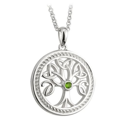 Sterling Silver Irish Celtic Tree of Life Pendant Trinity Knot Leaf Detail by Solvar