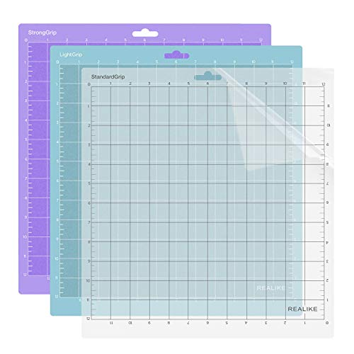 REALIKE 12x12 Cutting Mat for Cricut Explore One/Air/Air 2/Maker(3 Mats), Gridded Adhesive Non-Slip Cut Mat for Crafts, Quilting, Sewing and All Arts