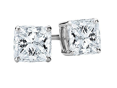 1 1/2 1.5 Carat Total Weight White Princess Diamond Solitaire Stud Earrings Pair set in 14K White Gold 4 Prong Push Back (I Color SI2-I1 Clarity)