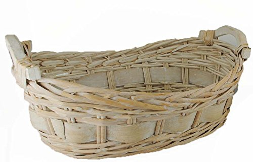 """TOPOT Split willow/woodchip basket with wooden Ear Handles White Wash Finish (14L""""x9W""""x5.5H"""")"""