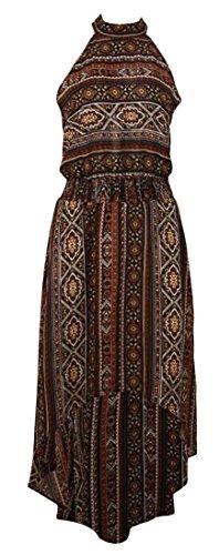 Dress Low Retro Beach Halter Cromoncent Hi s Brown Waist Empire Women Print Irregular q8RnP81
