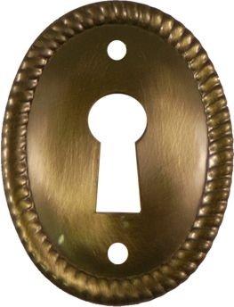 Antique Brass Oval Keyhole Cover for Cabinet Doors, Dresser Drawers, Desk Antique Furniture Hardware | AB-0259