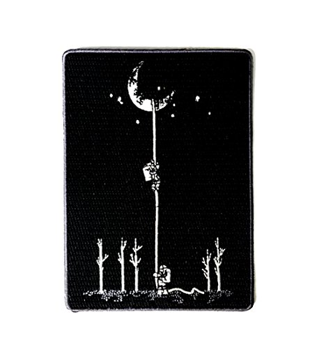 Reach For The Moon  Astronauts Climbing Rope Into Space   Iron On Embroidered Patch Applique