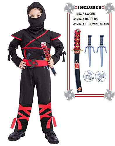 Ninja Costume Kids Boys 3T 4T 4-6 6-8 8-10 10-12 7-8 Girls Black]()