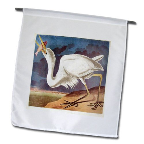 3dRose fl_119837_1 Vintage John J Audubon Great White Heron with a Fish Painting PD-US Garden Flag, 12 by 18-Inch