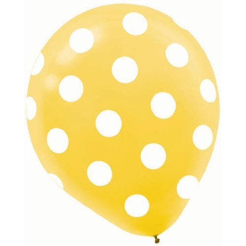 Amscan Polka Dots All Over Printed Balloon Party Decorations, Yellow, Latex, 12'', Pack of 6 Supplies , Yellow Dots, 72 Pieces